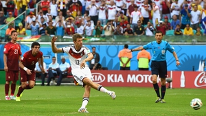Thomas Müller took the penalty for Germany and drove it home, putting his squad ahead 1-0 early