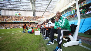 Super Eagles coach Stephen Keshi looks onto the pitch at the opening kick-off