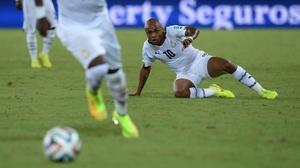 Ghana midfielder Andre Ayew kept his eye on the ball...
