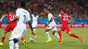 ...and eventually broke through the US defence to score Ghana's first goal at the 2014 World Cup
