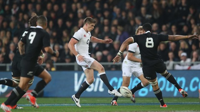 Owen Farrell in action during the second Test at Forsyth Barr Stadium