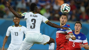 Ghana and USA players in action during the World Cup group G preliminary round match in Natal, Brazil