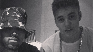 Brown and Bieber have been working on new material in the recording studio together.