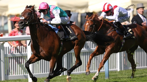 Kingman ridden by James Doyle breaks away to win the St James's Palace Stakes