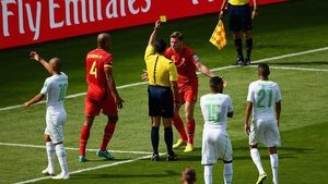 At 24' Belgium defender Jan Vertonghen laid a sloppy foul on Feghouli in the box and received the match's first yellow card