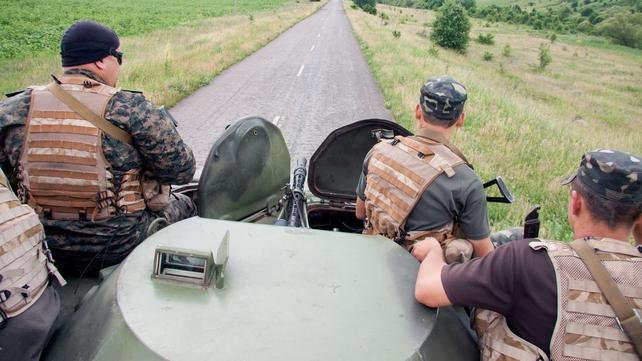 Ukranian troops on patrol in eastern Ukraine near the border with Russia