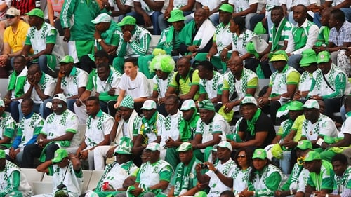 Nigerian fans in Brazil watch their team take on Iran on Monday. Soccer is hugely popular in Nigeria