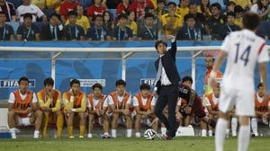 Hong Myung-Bo, Korea's coach, looks on. A World Cup veteran as a player, Hong appeared in four tournaments, including their surprise fourth place finish in 2002