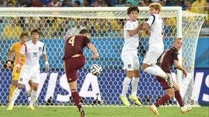 Ignashevich finally managed to get off a shot toward the Korea goal...
