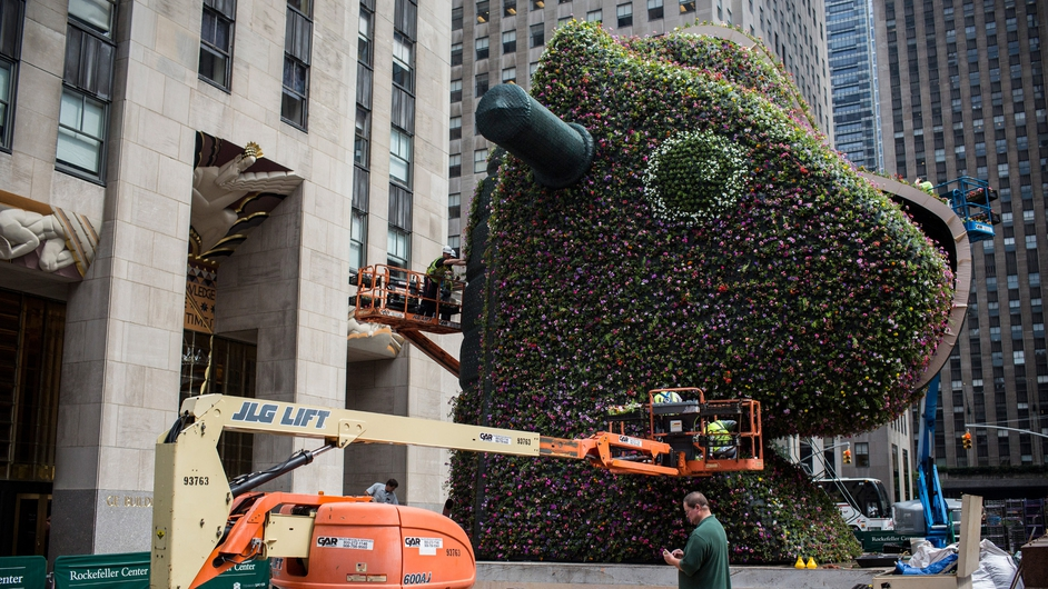 An 11 metre-high flower sculpture by artist Jeff Koons is assembled by workers outside New York's Rockefeller Centre