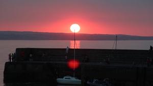 Sunset over Enniscrone Pier, Co Sligo, looking towards Killala Bay, Co Mayo (Pic: David Beattie)