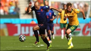 At 20' Netherlands forward Arjen Robben charged ahead...