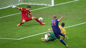 ... to score his third goal of the tournament, which put his team up 1-0 early