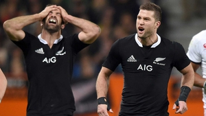 All Blacks' Conrad Smith and Cory Jane dejected after a missed chance during the second New Zealand v England