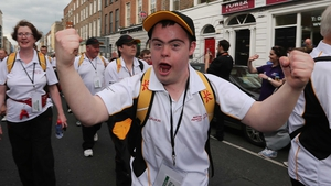 An Ulster athlete in the opening ceremony parade of the Special Olympics Ireland Games Opening Parade in Limerick