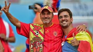 Fans of Spain - although travelling in smaller numbers - were enjoying the afternoon as well