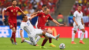 Spain never quite found their footing early on, as Chile midfielder Marcelo Diaz kept Spain midfielder Andres Iniesta solidly under control