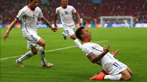Vargas celebrated putting Chile up 1-0 early...