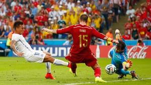 At 20' Chile forward Eduardo Vargas jabbed the ball past Spain goalkeeper Iker Casillas