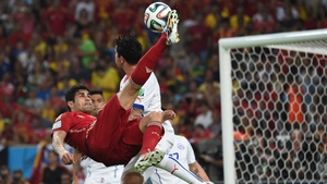 Spain striker Diego Costa pulled off a textbook bicycle cross at 52' to give the champs a chance...