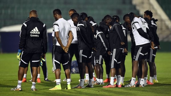 Nigeria's players held a minute's silence before they started training tonight