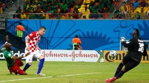 Ivan Olic scores in Croatia's 4-0 win over Cameroon