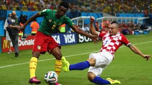 Cameroon forward Benjamin Moukandjo sought to make up for the absence of injured star forward Samuel Eto'o. Here he works against Croatia defender Daniel Pranjic