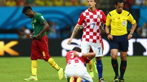 A second flash of drama punctuated the otherwise drab first half when Cameroon midfielder Alexandre Song got sent off with a straight red card, after he punched a Croatia player in the back for no apparent reason
