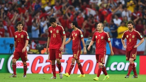 David Silva, Diego Costa, Sergio Busquets, Andres Iniesta and Xabi Alonso during the game against Chile