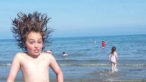 Hair-raising fun at Clogherhead Beach (Pic: Siobhán Newman)