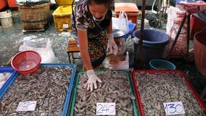 A fishmonger sorts shrimp at her stall at the Klong Toey fresh food market in Bangkok, Thailand