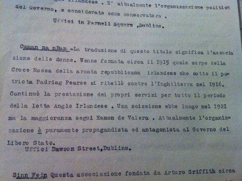 Documents investigating Violet's links with Cumman na mBan found in the Italian State Archives