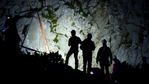 Rescue teams help a man trapped in  Riesending Cave in the German state of Bavaria
