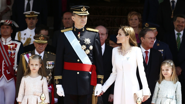 Spain's King Felipe VI pictured with his family as he takes the throne