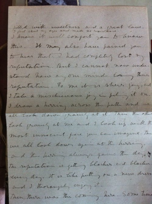 A letter from Violet to her friend Enid during the time that she was being held in the asylum in Rome.