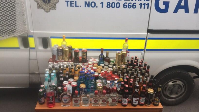 Gardaí posted images on Twitter of alcohol seized from Portmarnock beach