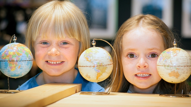 Odhran Keenan (7) and his sister Aoibheann (6) from Galway at the launch of the new National Geographic store at Dublin Airport