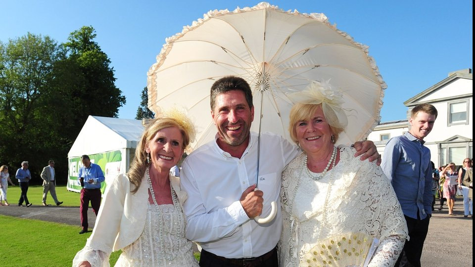 Jose Maria Olazabal of Spain poses with ladies in period dress at Fota House during the Irish Open Previews at Fota Island resort on June 18, 2014 in Cork