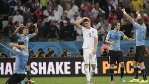 England were beaten 2-1 by Uruguay
