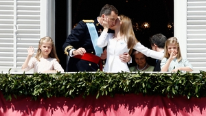Spain's Princess Leonor, King Felipe VI, Queen Letizia and Princess Sofia appear at the Royal Palace in Madrid during the King's official coronation ceremony
