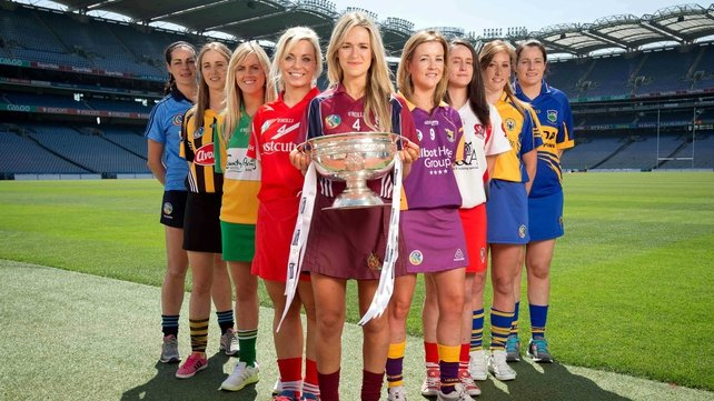Louise O'Hara, Dublin, Leanne Fennelly, Kilkenny, Aoife Kelly, Offaly, Anna Geary, Cork, Lorraine Ryan, Galway, Kate Kelly, Wexford, Sinead Cassidy, Derry, Eimear Considine, Clare and Sabrina Larkin, Tipperary at the launch of this year's championship
