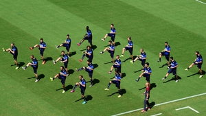 Italy's squad warm up during a training session at the Pernambuco Arena in Recife