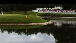 Padraig Harrington putts on the third green during day two