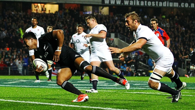 Julian Savea scored a hat-trick of tries to punish England
