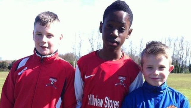 13-year-old Ricky Oasagi (centre) died after getting into difficulty while swimming in water in Blanchardstown (Pic: Corduff FC facebook)