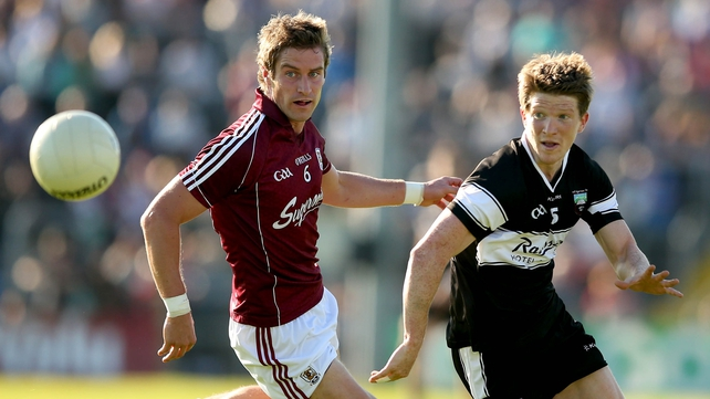 Galway's Gary O'Donnell and David Kelly of Sligo in action at Markievicz Park