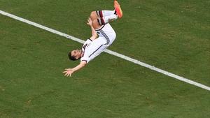 Miroslav Klose celebrating one of his 71 international goals with a trademark somersault
