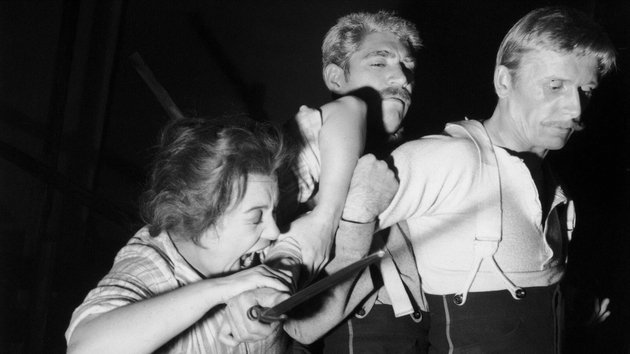 A rehearsal for the play 'Sergeant Musgrave's Dance' by John Arden at the Royal Court Theatre, 21st October 1959. Alan Dobie attacks Frank Finlay with his bayonet, while Patsy Byrne tries to stop him