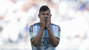 Sergio Aguero was taken off during the first half of the match against Nigeria