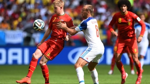 The match started out with an even, almost flat pace, as Belgium midfielder Kevin de Bruyne and the like kept good control of the ball but did little with it